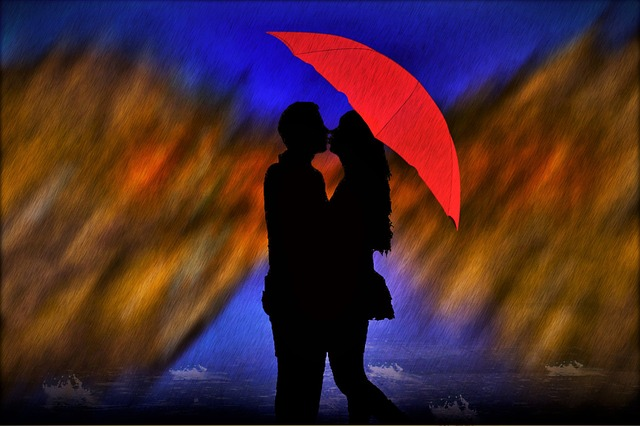 milenci v dešti